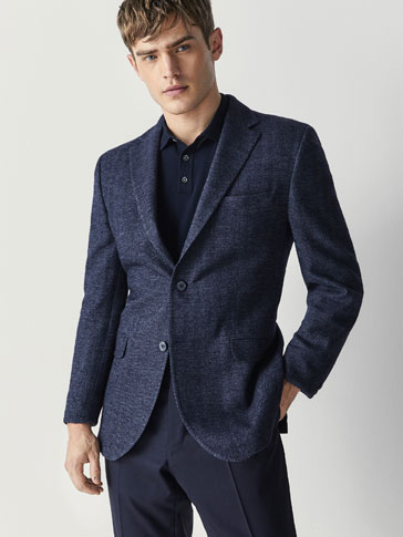 SLIM FIT HERRINGBONE COTTON/WOOL BLAZER