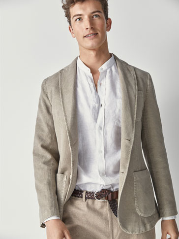 SLIM FIT COTTON/LINEN DYED TEXTURED WEAVE BLAZER