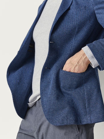 SLIM FIT BLAZER I STRIK MED FANTASIMØNSTER