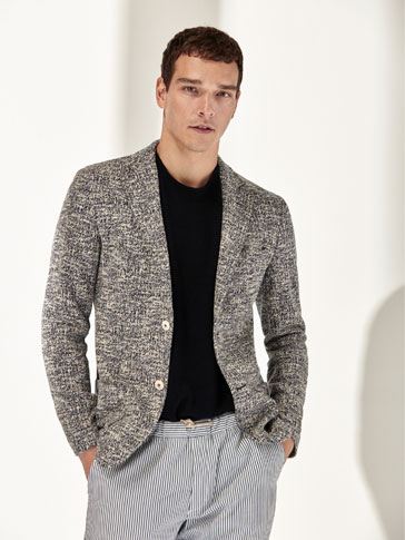 SLIM FIT EMBELLISHED COTTON BLAZER
