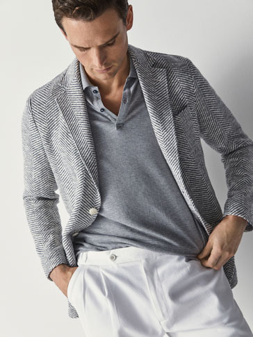 SLIM FIT KNIT HERRINGBONE BLAZER