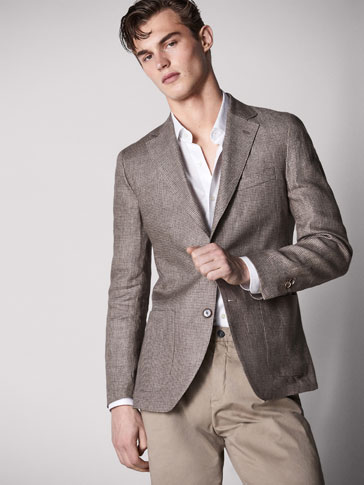 SLIM FIT HOUNDSTOOTH LINEN BLAZER