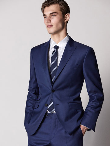 SLIM FIT NAVY BLUE ZIG-ZAG WEAVE WOOL BLAZER