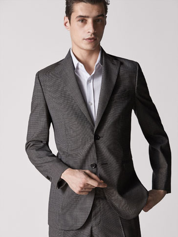SLIM FIT WOOL HOUNDSTOOTH BLAZER