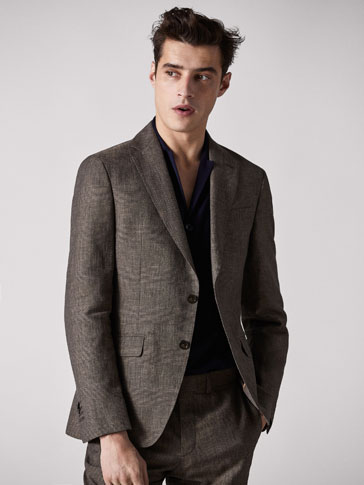 CHECKED LINEN/WOOL SLIM FIT BLAZER