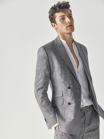 VESTE TAILLEUR LAINE/LIN CARREAUX SLIM FIT