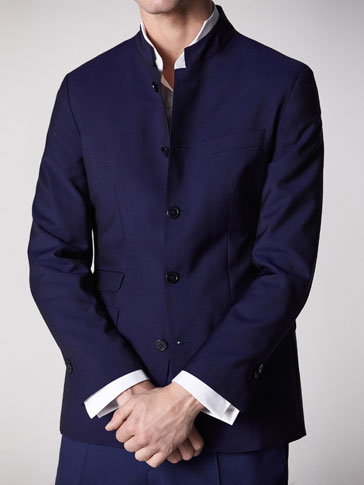 SLIM FIT PLAIN WOOL/MOHAIR BLAZER
