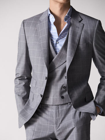 PERSONAL TAILORING SLIM FIT CHECKED WOOL AND HALF-CANVAS BLAZER