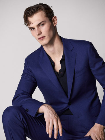 PERSONAL TAILORING SLIM FIT BLUE WORSTED WOOL AND HALF-CANVAS BLAZER