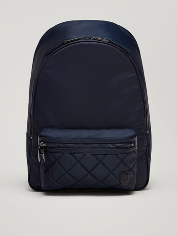 CONTRASTING LEATHER BACKPACK WITH QUILTED DETAIL