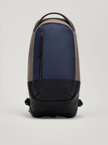 CONTRASTING LEATHER POSTMAN BAG