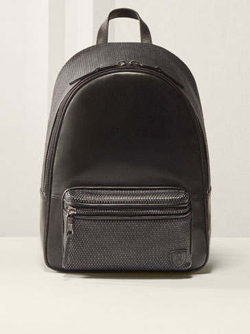 CONTRASTING LEATHER BACKPACK