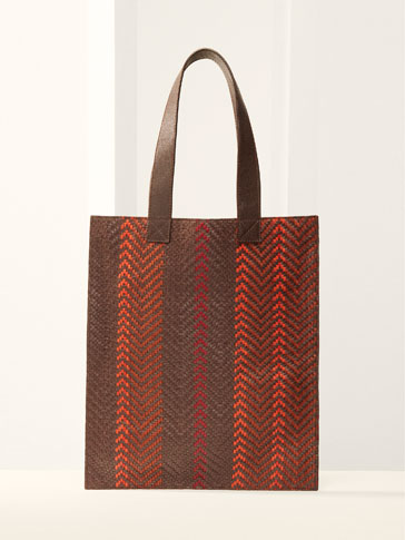 LIMITED EDITION HERRINGBONE LEATHER TOTE BAG WITH A PLAITED PANEL