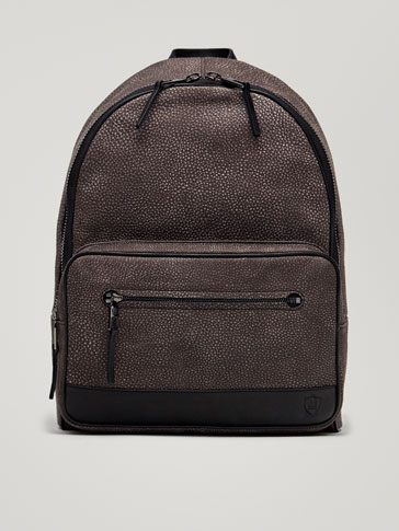 CONTRASTING NUBUCK LEATHER BACKPACK