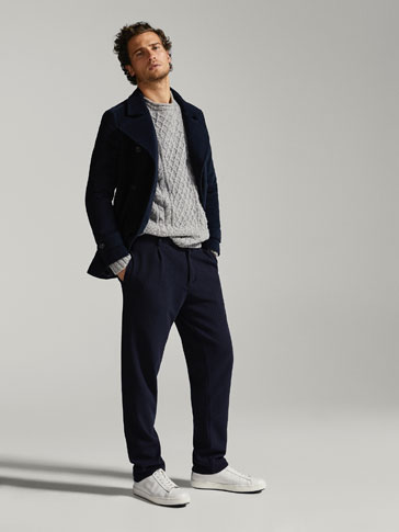 MANTEAU EN SIMILIVELOURS SLIM FIT