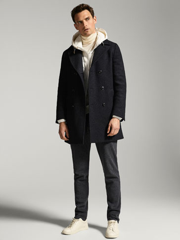 SLIM FIT GREY WOOL COAT
