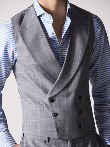 PERSONAL TAILORING SLIM FIT CHECKED WOOL WAISTCOAT