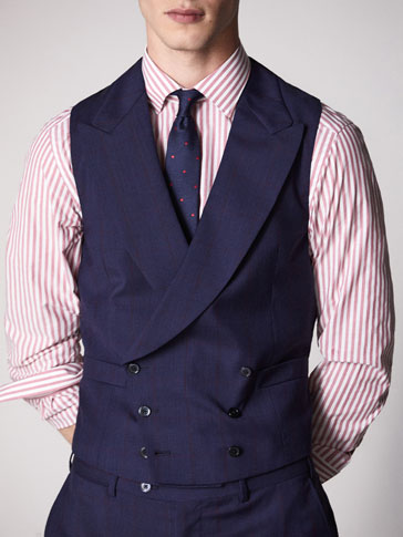 PERSONAL TAILORING SLIM FIT BLUE CHECKED WOOL WAISTCOAT