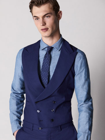 PERSONAL TAILORING SLIM FIT NAVY BLUE WORSTED WOOL WAISTCOAT