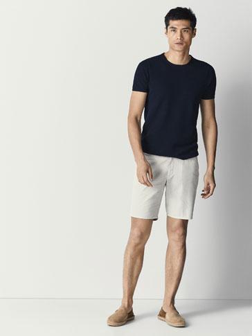 سروال برمودا قطني مطبوع بأشكال هندسية