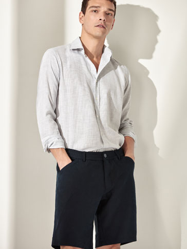 COTTON/LINEN BERMUDA SHORTS WITH SEAM DETAIL