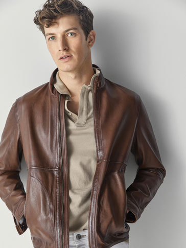NAPPA LEATHER JACKET WITH BONDED DETAIL