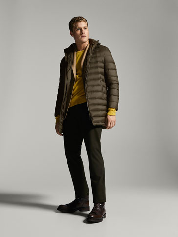 KHAKI DOWN PUFFER THREE-QUARTER-LENGTH COAT