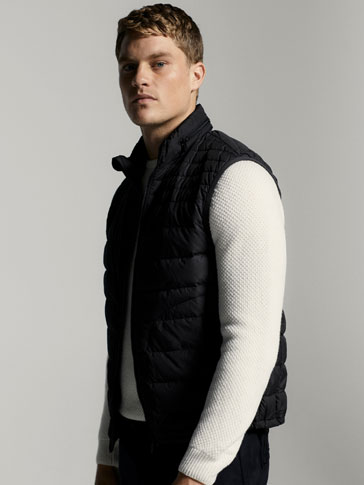 TECHNICAL DOWN PUFFER GILET WITH HOOD DETAIL