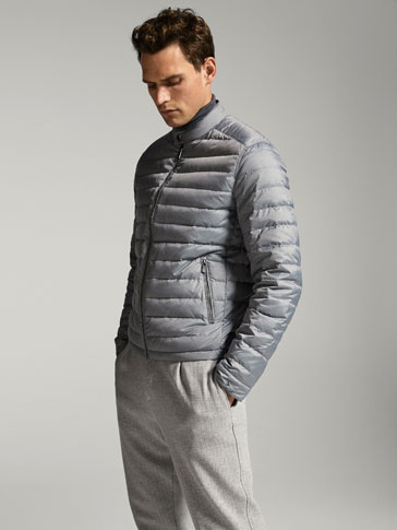 GREY MELANGE DOWN PUFFER JACKET