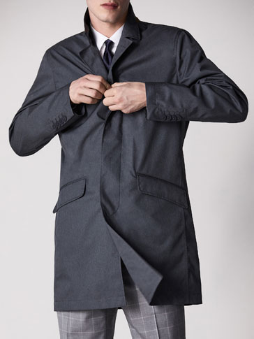 PERSONAL TAILORING GREY TECHNICAL TRENCH COAT