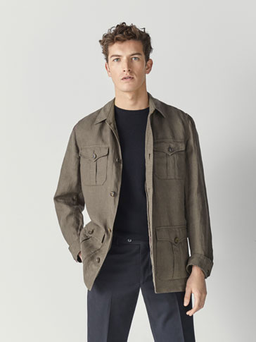 100% LINEN SAFARI JACKET WITH POCKETS