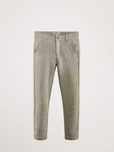 TEXTURED WEAVE COTTON JOGGING TROUSERS
