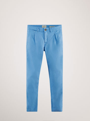 REGULAR FIT COTTON/LINEN TROUSERS WITH PLEATS