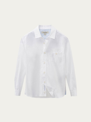 PLAIN POPLIN SHIRT WITH CONTRASTING DETAIL