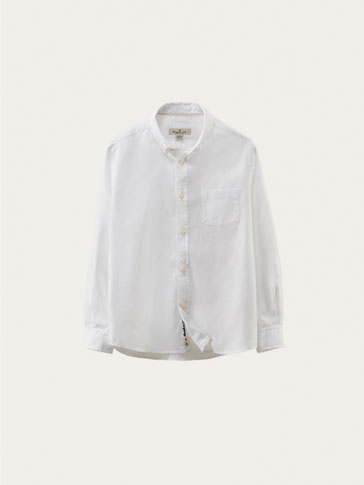 WHITE TEXTURED WEAVE SHIRT