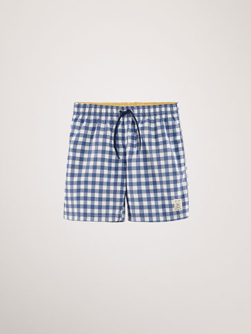 GINGHAM SWIMMING TRUNKS