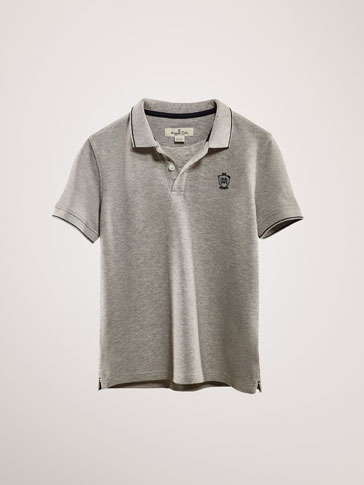 COTTON POLO SHIRT WITH CONTRASTING STRIPE DETAIL