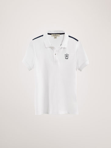 COTTON POLO SHIRT WITH THERMO-SEALED DETAIL