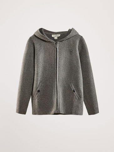 GREY CARDIGAN WITH HOOD DETAIL