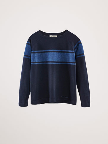 COTTON SWEATER WITH CONTRASTING STRIPE
