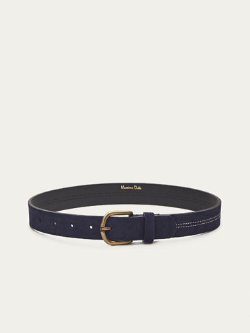 LEATHER BELT WITH TOPSTITCHING DETAIL