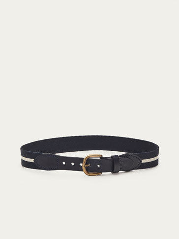 LEATHER BELT WITH ELASTIC DETAIL