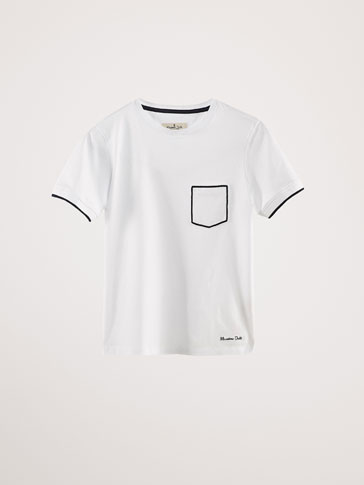 COTTON T-SHIRT WITH CONTRASTING DETAILS