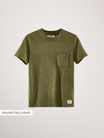TEXTURED WEAVE COTTON T-SHIRT