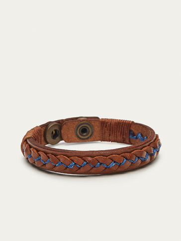 BRAIDED LEATHER BRACELET WITH CONTRASTING DETAIL