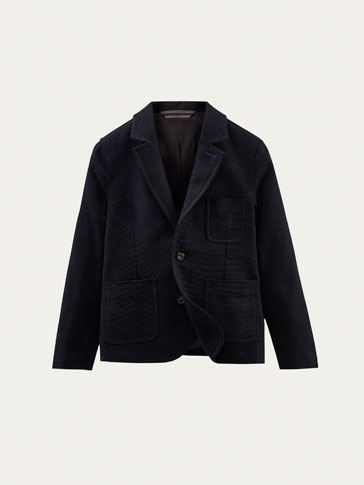 NAVY BLUE BLAZER WITH TEXTURED WEAVE