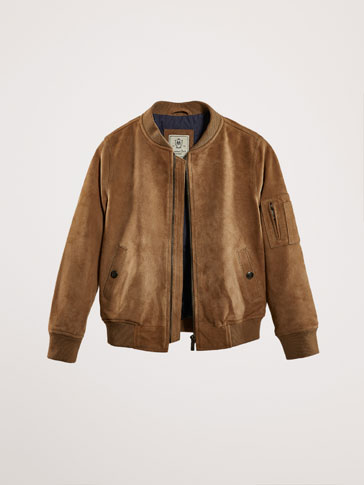 BOMBER-STYLE SUEDE JACKET