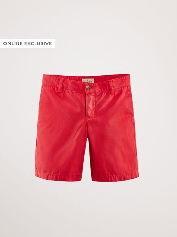 COLOURED COTTON CHINO-STYLE BERMUDA SHORTS