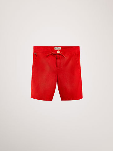 COTTON/LYOCELL TEXTURED WEAVE BERMUDA SHORTS WITH DRAWSTRING DETAIL