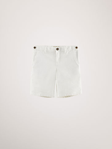 TEXTURED WEAVE COTTON BERMUDA SHORTS